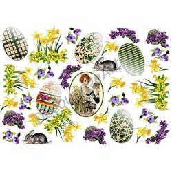 Papier ryżowy ITD Collection 072 - Pisanki i kwiatki