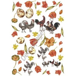Papier ryżowy ITD Collection 074 - Koguty i tulipany