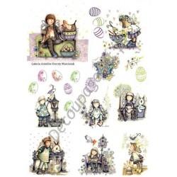 Papier ryżowy ITD Collection 075 - Wielkanocne aniołki Dorotki 1