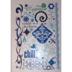 Kalkomania artystyczna niebieskie ornamenty