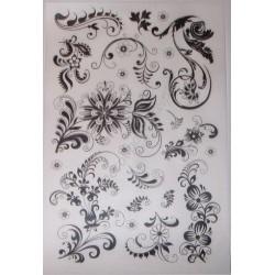 Kalkomania artystyczna ornamenty kwiatowe BW