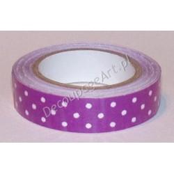 Taśma samoprzylepna z materiału kropki fioletowe