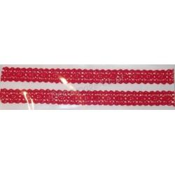 Tasiemka bawełniana koronkowa samoprzylepna 220 czerwona