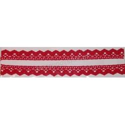 Tasiemka bawełniana koronkowa samoprzylepna 120 czerwona