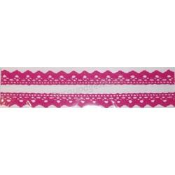 Tasiemka bawełniana koronkowa samoprzylepna 123 pink