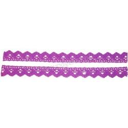 Tasiemka bawełniana koronkowa samoprzylepna 128 fioletowy