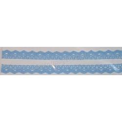 Tasiemka bawełniana koronkowa samoprzylepna 130 błękitny