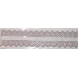 Tasiemka bawełniana koronkowa samoprzylepna 180 jasno-szary
