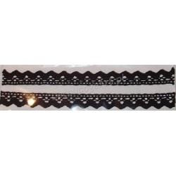 Tasiemka bawełniana koronkowa samoprzylepna 190 czarna