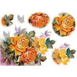 Papier ryżowy Renkalik do decoupage 109 Żółto-pomarańczowe róże