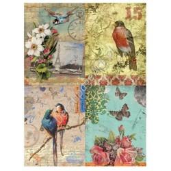 Papier ryżowy do decoupage Digital Collection 058 Ptaki i róże