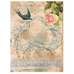 Papier ryżowy do decoupage Digital Collection 059 Róża i pismo
