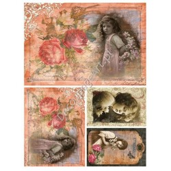 Papier ryżowy do decoupage Digital Collection 061 Dziewczynka róż