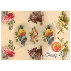 Papier do decoupage soft Cheap-Art A3 Owoce i fiołki