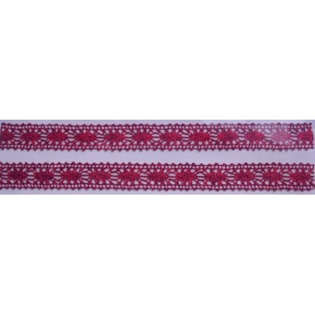 Tasiemka bawełniana koronkowa metaliczna pink