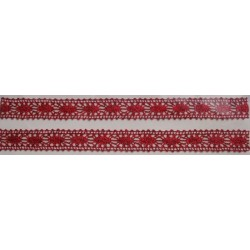 Tasiemka bawełniana koronkowa metaliczna czerwona