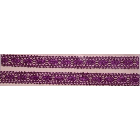 Tasiemka bawełniana koronkowa metaliczna fioletowa