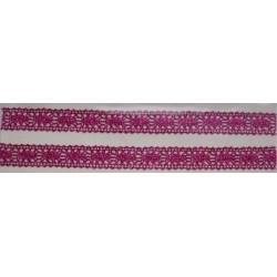Tasiemka bawełniana koronkowa metaliczna lila