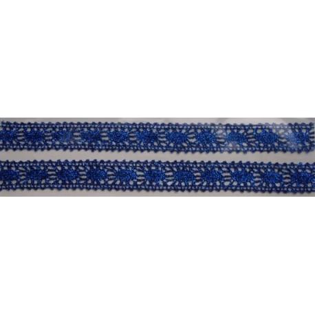 Tasiemka bawełniana koronkowa metaliczna niebieska
