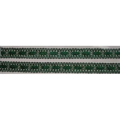 Tasiemka bawełniana koronkowa metaliczna zielona