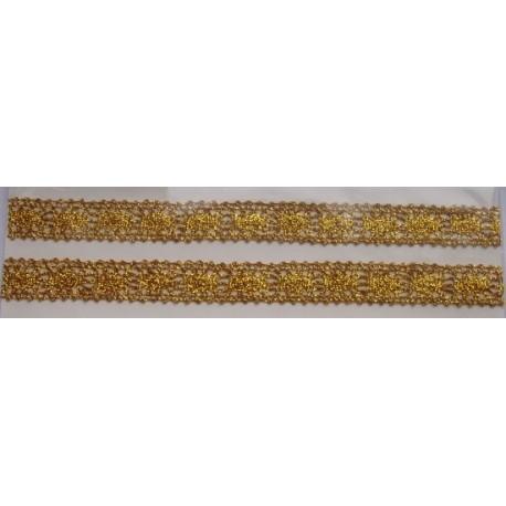 Tasiemka bawełniana koronkowa metaliczna złota