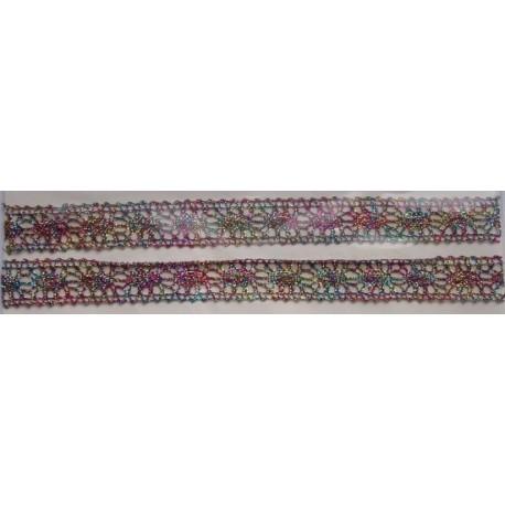 Tasiemka bawełniana koronkowa metaliczna tęczowa
