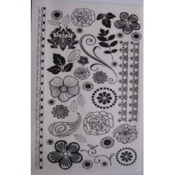 Kalkomania artystyczna ornamenty i kwiaty BW