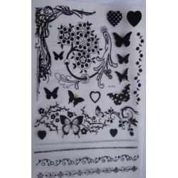 Kalkomania artystyczna ornamenty i motyle BW