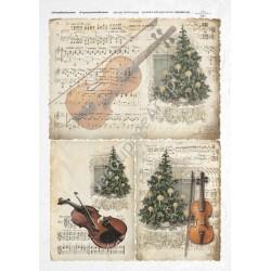 Papier ryżowy ITD Collection 188 - Choinka, skrzypce i nuty