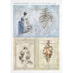 Papier ryżowy ITD Collection 191 - Świąteczne pocztówki