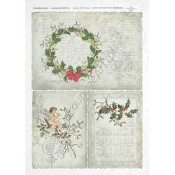Papier ryżowy ITD Collection 192 - Świąteczne wieńce i pismo