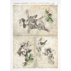 Papier ryżowy ITD Collection 193 - Świąteczne damy i pismo