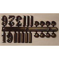 Cyfry zegarowe arabskie srebrne (3,6,9,12) plus znaczniki 15mm