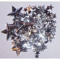 Kryształki dekoracyjne gwiazdy mix - srebrne