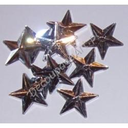 Kryształki dekoracyjne gwiazdy duże 10 szt srebrne