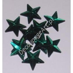 Kryształki dekoracyjne gwiazdy duże 10 szt zielone