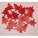 Choinki z mikrogumy brokatowej - czerwone