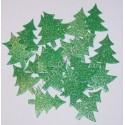 Choinki z mikrogumy brokatowej - zielone