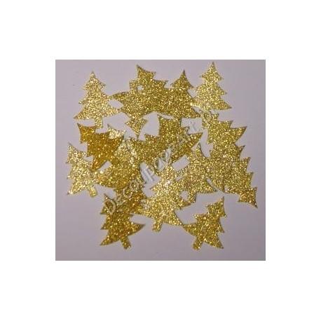 Choinki z mikrogumy brokatowej - złote