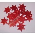 Gwiazdki z mikrogumy brokatowej - czerwone