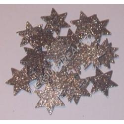 Gwiazdki z mikrogumy brokatowej - srebrne