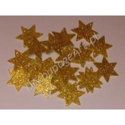 Gwiazdki z mikrogumy brokatowej - złote