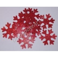 Śnieżynki z mikrogumy brokatowej - czerwone