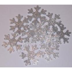 Śnieżynki z mikrogumy brokatowej - srebrne