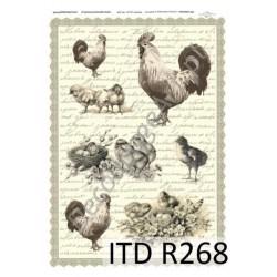 Papier ryżowy ITD Collection 268 - Kurczaczki, koguty i pismo bw