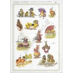 Papier ryżowy ITD Collection 285 - Wielkanoc zwierzątka różne