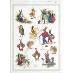 Papier ryżowy ITD Collection 287 - Wielkanoc zwierzątka różne