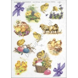 Papier ryżowy ITD Collection 290 - Wielkanocne kurczaczki