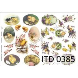 Papier do decoupage ITD 385 - Wielkanoc kurczaczki i pisanki