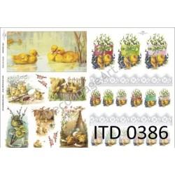 Papier do decoupage ITD 386 - Wielkanoc kurczaczki i kaczuszki